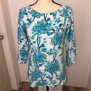 Lily Pulitzer 3/4 sleeve ostrich blouse tee Size M